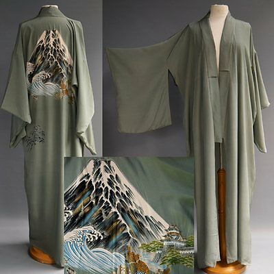 Vtg Hand Painted Dress Kimono Grey Silk Wood Cut Ocean Wave Mt. Fuji sz OS S-XL