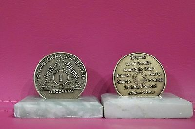 Recovery coins AA 1 Year Bronze Medallion tokens sobriety affirmation birthday
