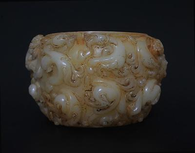 Very Rare Antique Chinese Carved Jade Brush Washer-Dragon s8