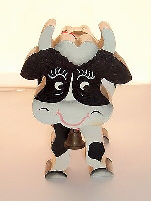 Vintage Folk Art Black & White Wood Cow with bell Handmade Country Kitsch