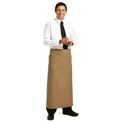 Whites Chefs Apparel Long Bistro Apron Tan Chef Kitchen Catering Cooking Serving
