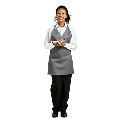 Whites Chefs Apparel V Neck Service Apron Charcoal Chef Kitchen Catering Cooking