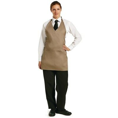 Whites Chefs Apparel V Neck Service Apron Tan Chef Kitchen Catering Cooking