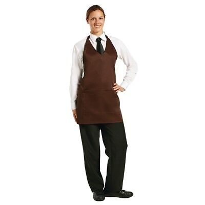 Whites Chefs Apparel V Neck Service Apron Chocolate Chef Kitchen Catering