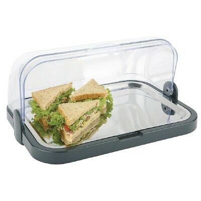 APS Roll Top Cool Plate Display Tray Stainless Steel Serving Platter