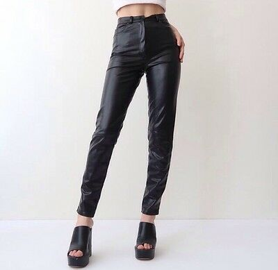 Vintage High Waisted Soft Leather Trousers Stretchy Size 8/10 Beautiful