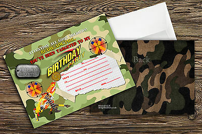 Nerf gun/Nerf war/ Army Birthday Party Invitations for boys (Thick Card 250GSM)