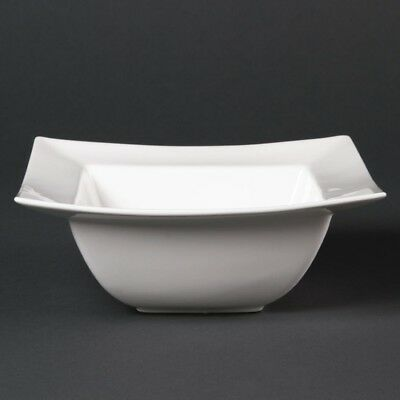 6X Lumina Fine China Wide Rimmed Square Bowls 165mm Kitchen Serving Dishes