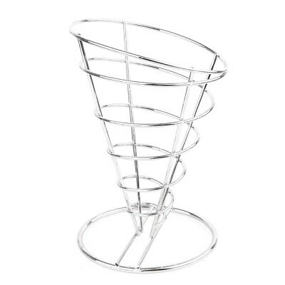 French Fry Holder Stainless Steel Food Fries Serving Cone Basket Carrier