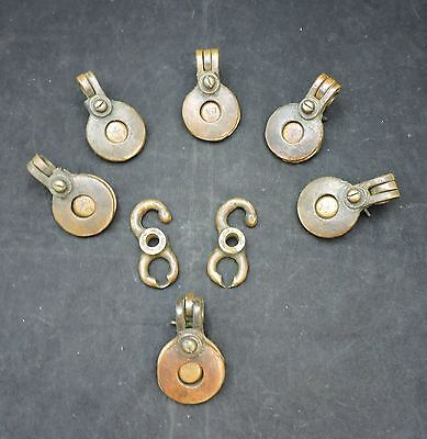 Set of Solid Brass Nautical Flag Button Clips To Hoist Signal Flags on Ships
