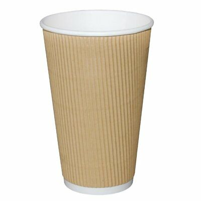 Pack of 25 Fiesta Ripple Wall Disposable Cups Kraft 450ml Corrugated Cardboard