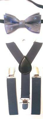 """Baby/Toddler Boy's Gray Paisley Bow Tie and Dark Gray 25"""" or 36"""" Suspenders"""