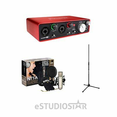 Rode NT1-A Mic for Podcast, Broadcast use w/Focusrite Scarlett2i2 2G & Stand NEW
