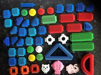 50 Stickle Bricks Of Various Shapes & Sizes Includes Baby, Elephant & Cat Head