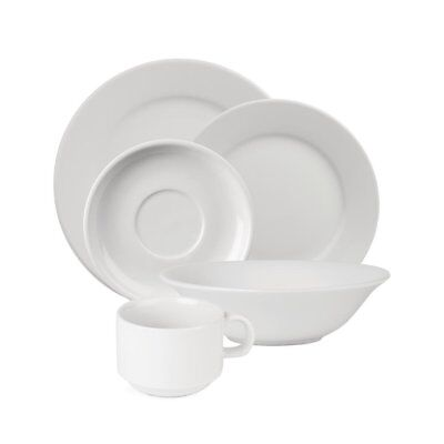 24X Athena Hotelware Five Piece Place Settings Porcelain Dinnerware Table