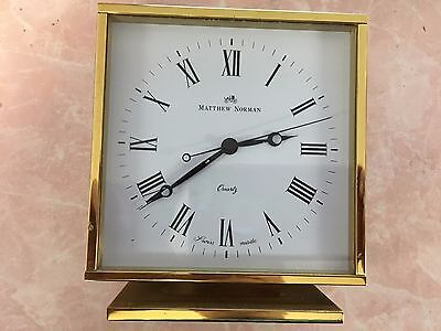 Matthew Norman London Swiss Made Battery Operated Brass Clock-Working!