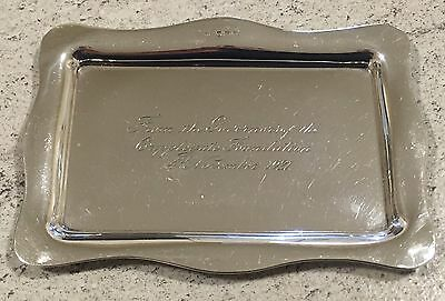 Hallmarked 1920 Silver Tray Inscription For 1921 Cripplegate Foundation Antique