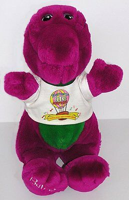 Early Plush Barney the Dinosaur Toy Closed Mouth Purple Toes Surprise Shirt