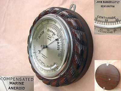 Antique John Barker marine aneroid barometer with curved thermometer