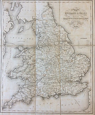 Map of England & Wales 1831 Lewis Topographical, Creighton & Starling, Original
