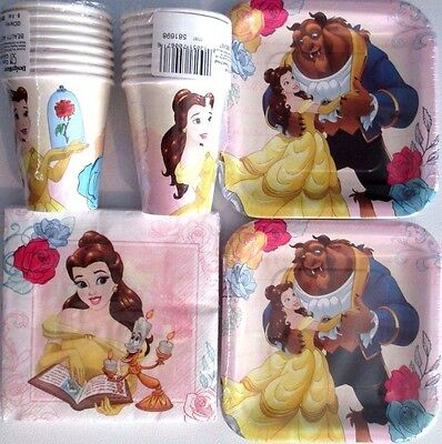 Beauty and the Beast Disney Birthday Party Supply Kit w/Cups, plates & Napkins