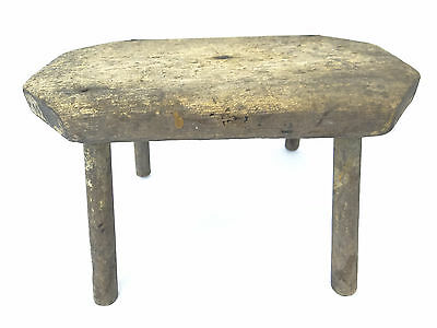 Antique Old Primitive Wood Painted Yellow Footstool Stool Ottoman Part Used