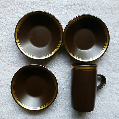 Vintage 70S, Purbeck Pottery, Brown / Gold, Coffee Mug And 3 Saucers