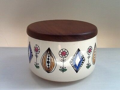 1950's Egersund Norway Pottery Abstract Floral Motif Sugar Bowl With Wooden Lid