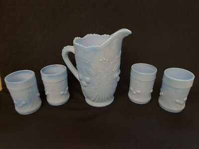 VINTAGE L.G. WRIGHT delphite BLUE CHERRY & WREATH PITCHER & 4 TUMBLERS !!