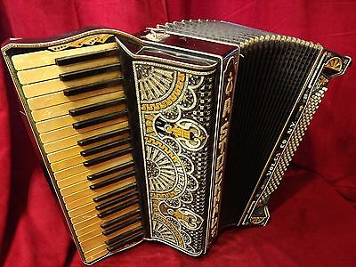 Vintage Pre-War Piano Accordion Volga A Stockmal LMMM 41/120 FOR PARTS OR REPAIR