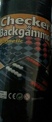 Checkers & Backgammon Magentic New Board Game Foldable with storage