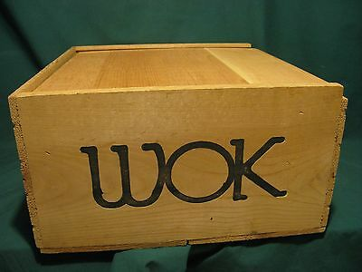 WOK BOX...Wooden Crate/Box w/Slotted Lid in Excellent Condition....