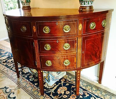 Antique demilune sideboard / server English inlaid Sheraton style