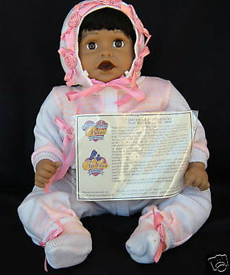 """Cute As Button Babies Dolls Baby Tina By Fred McNeill 21"""" Vinyl Cloth Girls 3 +"""