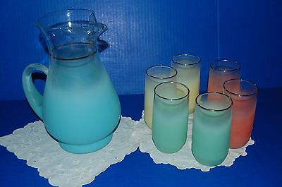 Blendo blue pitcher & 6 glasses green orange yellow fade frosted MCM VTG