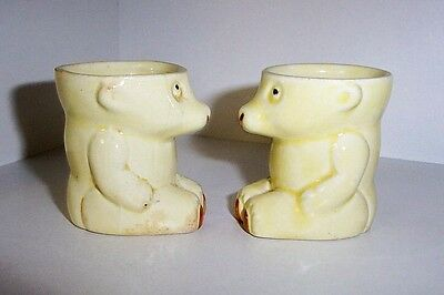 Two vintage teddy bear egg cups.
