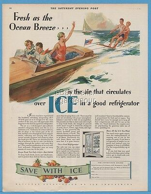 1929 National Association of Ice Industries Chicago Wake surfing boating art ad