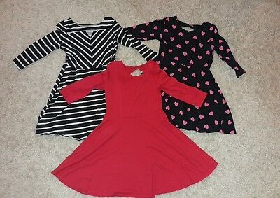 Lot Of 3  Childrens Place Little Girls Size 7/8 Flare Skater Dresses Red, Hearts