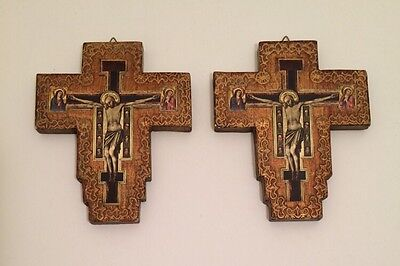 Antique Set of Two Crucifixion Handmade Italian GIlt Wooden Wall Plaque