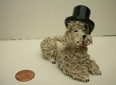 Vintage Porcelain Spaghetti Dog with Tophat