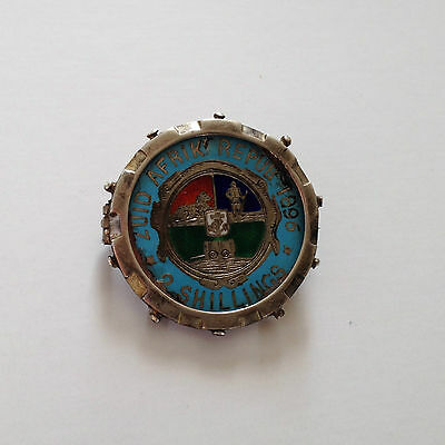 1892 2 Shilling Paul Kruger Boer War ZAR hat and pipe POW trench art brooch coin