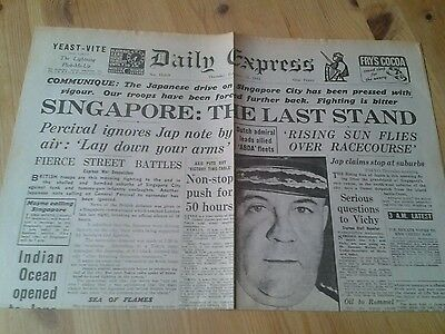 DAILY EXPRESS NEWSPAPER WW2- Feb 12th 1942- Singapore: the last stand.