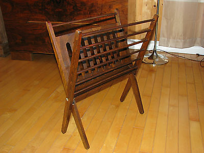 Mid-Century Modern WOOD MAGAZINE RACK Danish FOLDING Newspaper
