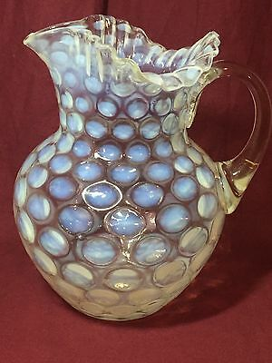 EAPG White opalescent Coin Spot VIctorian art glass ruffled water pitcher