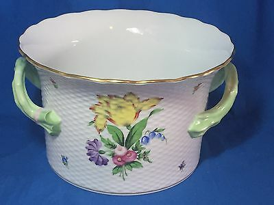 Herend China Printemps pattern large handled cachepot