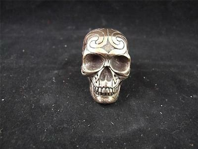 Resin Cast Miniature Celtic Skull with a Bronze Finish.