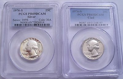 Lot of Two PCGS-Certified PR69 DC 1976-S Quarters: 1 Silver and 1 Clad: Untoned