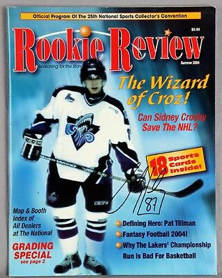 Penguins – Sidney Crosby Signed Rookie Review Magazine With Cards – JSA