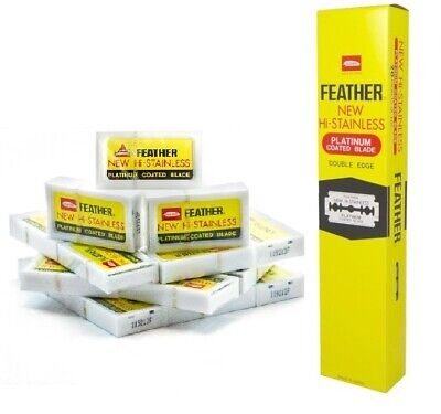 100 FEATHER Hi-Stainless Platinum Double Edge Blades Yellow MADE IN JAPAN