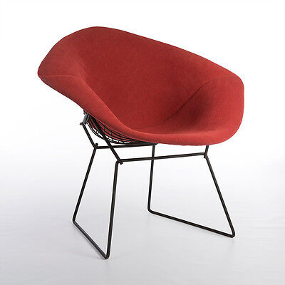 Original Vintage Knoll Black Harry Bertoia Diamond Chair with Red Upholstery